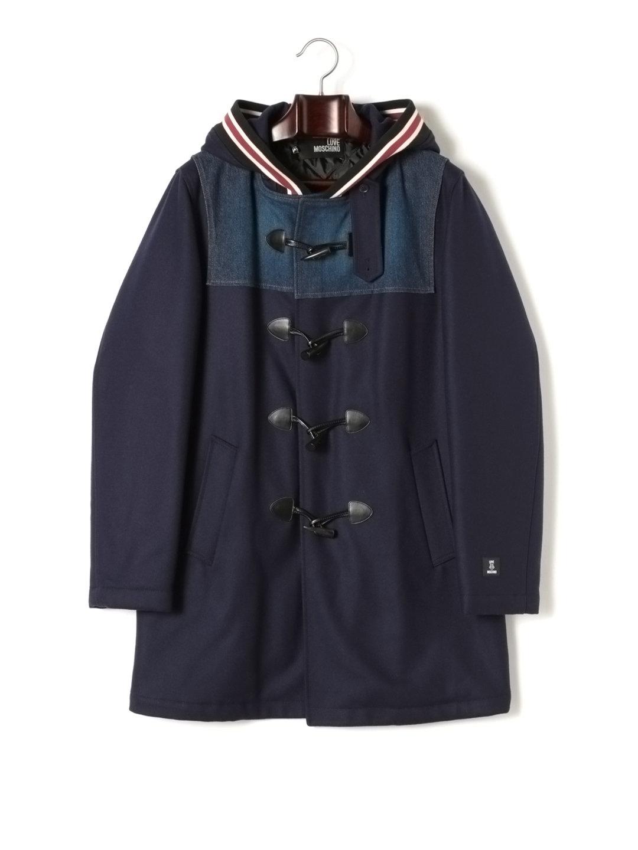 【71%OFF】ラインデザイン フーデッド 中綿入 ダッフルコート ネイビー 46 ファッション > メンズウエア~~ジャケット