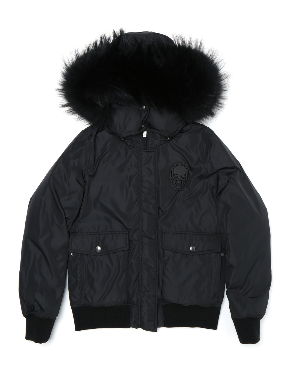 【50%OFF】ラクーンファー フード付 2way ダウンジャケット ブラック l ファッション > レディースウエア~~その他トップス