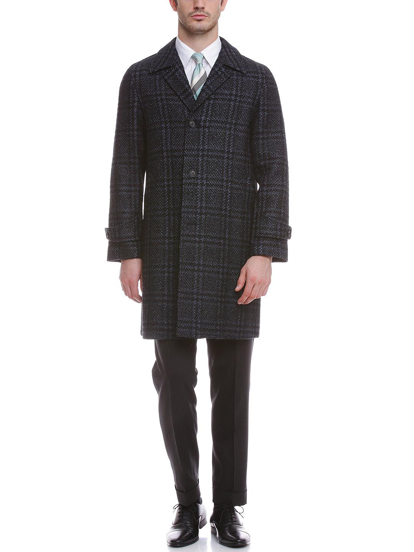 【50%OFF】シルク混 チェック チェスターフィールドコート ネイビー 48 ファッション > メンズウエア~~ジャケット