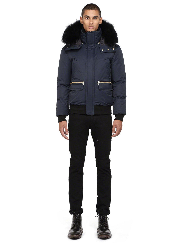 【63%OFF】ラクーンファートリムフード付 スタンドカラー ダウンジャケット ネイビー 42 ファッション > メンズウエア~~ジャケット