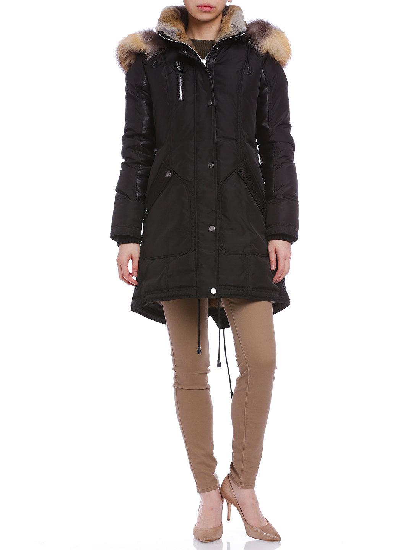 【52%OFF】Chelsea ファートリムフード付 切替 コート ブラック/ゴールド s ファッション > レディースウエア~~その他トップス