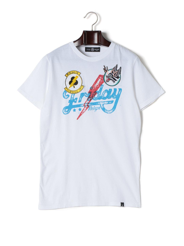 【76%OFF】FRIDAY ワッペン プリント クルーネック 半袖Tシャツ ホワイト m ファッション > メンズウエア~~その他トップス
