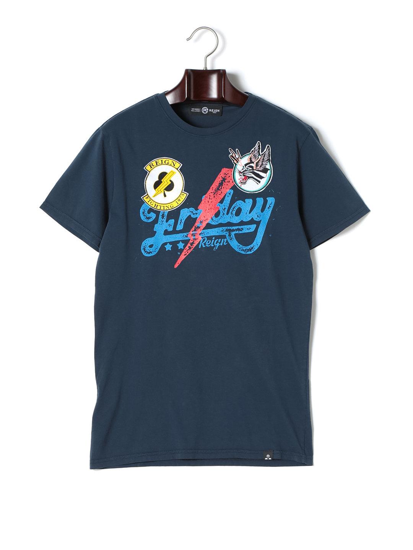 【76%OFF】FRIDAY ワッペン プリント クルーネック 半袖Tシャツ ネイビー xs ファッション > メンズウエア~~その他トップス