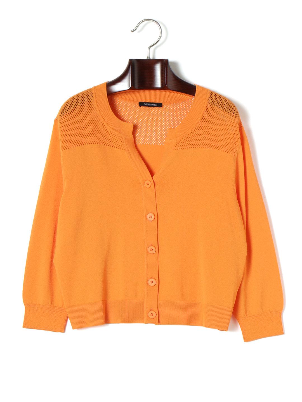 【80%OFF】PLANETWA メッシュヨーク ニットカーディガン スモークオレンジ t7 ファッション > レディースウエア~~その他トップス