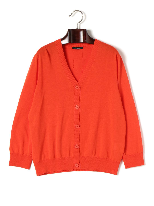 【80%OFF】ICECREPE Vネック 長袖 ニットカーディガン ブラッドオレンジ t6 ファッション > レディースウエア~~その他トップス