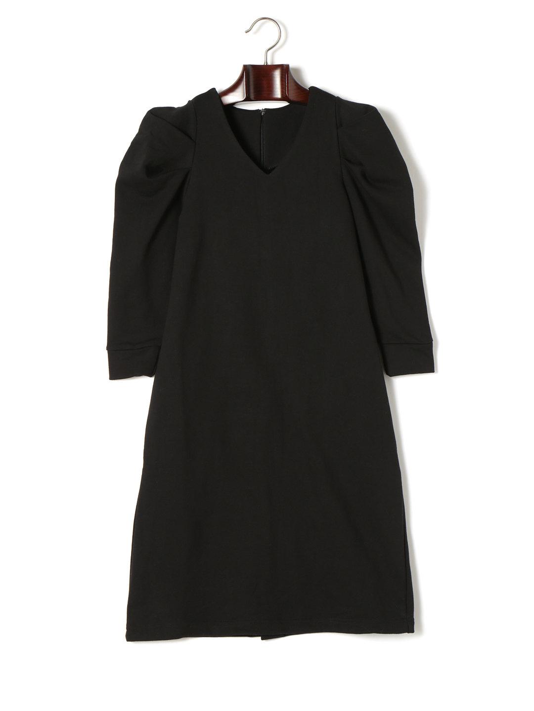【70%OFF】タック パワーショルダー 裏毛 Vネック ドレス ブラック m ファッション > レディースウエア~~ワンピース