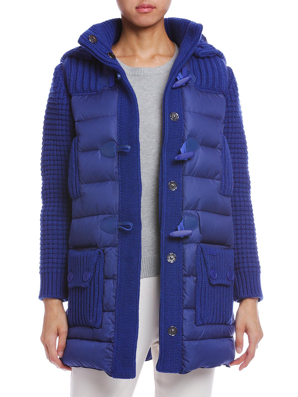 【60%OFF】ニット切替 フード付 ダウン ダッフルコート ブルー s ファッション > レディースウエア~~ジャケット