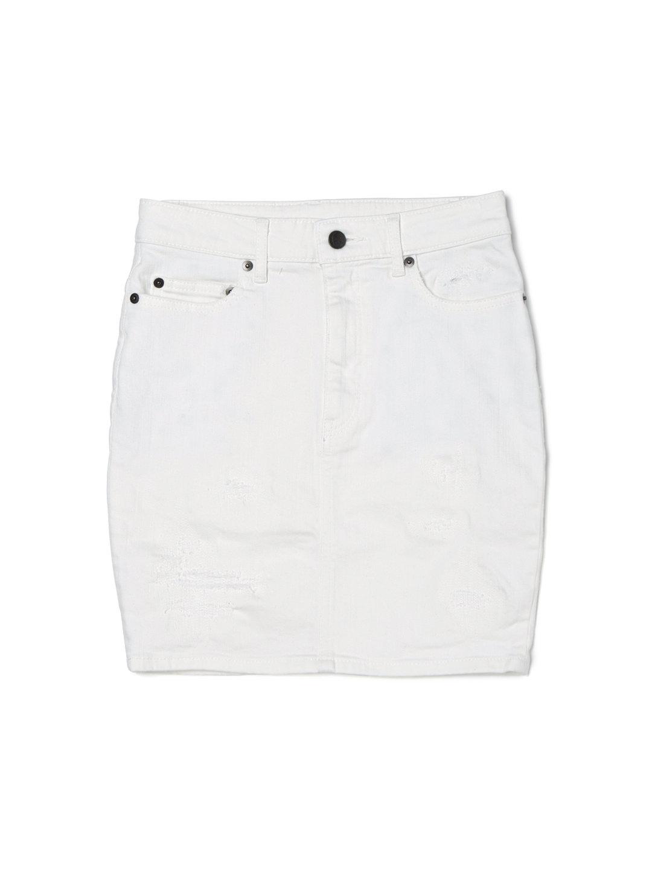 【50%OFF】PLFT スカル クラッシュデニム スカート ホワイト s ファッション > レディースウエア~~スカート~~キュロットスカート