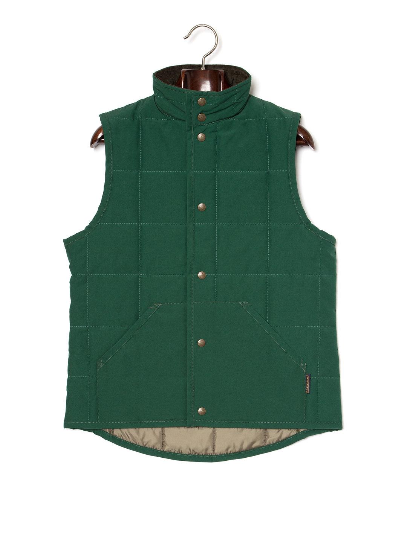 【50%OFF】HECKFIELD スタンドカラー キルティングベスト グリーンxイラク 38 ファッション > メンズウエア~~ベスト