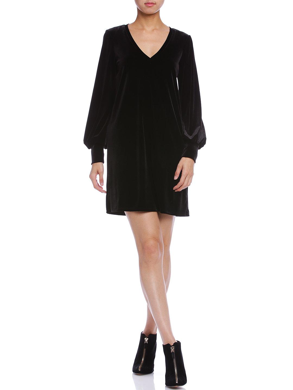 【50%OFF】ストレッチ パフスリーブ Vネック ドレス リッチブラック m ファッション > レディースウエア~~ワンピース