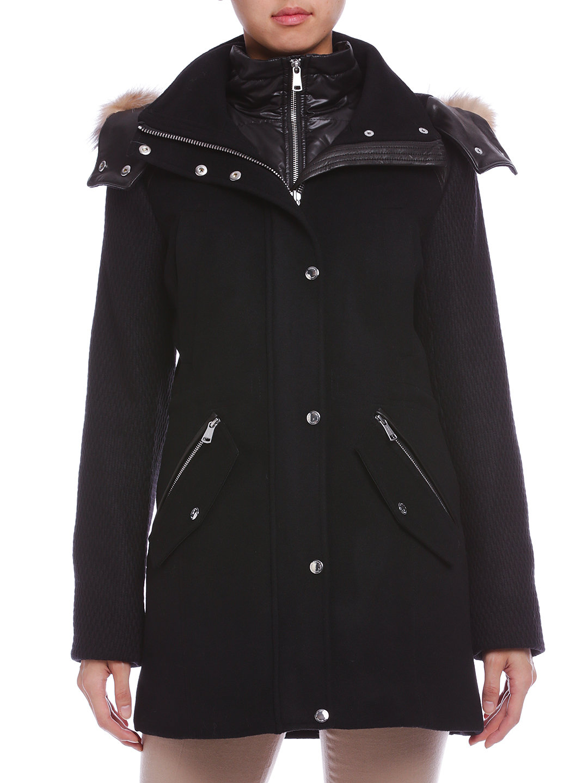 【50%OFF】BRYNN カシミヤ混 ファー付 ライナーレイヤード コート ブラック 6 ファッション > レディースウエア~~ジャケット