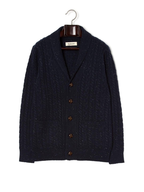 【66%OFF】ケーブル編み ショールカラー ニットカーディガン ネイビー s ファッション > メンズウエア~~その他トップス