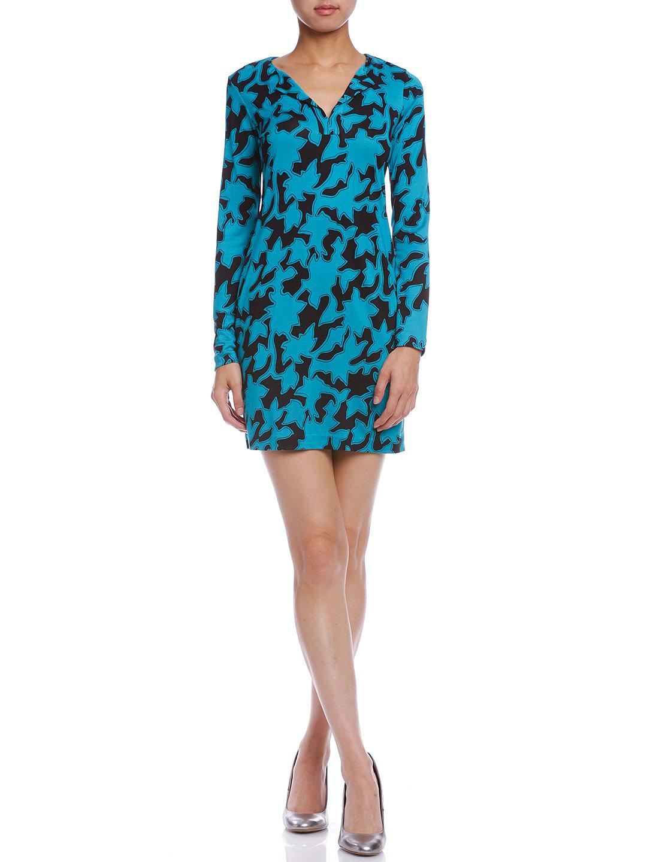【60%OFF】REINA シルク プリント Vネックドレス ブルー 0 ファッション > レディースウエア~~ワンピース
