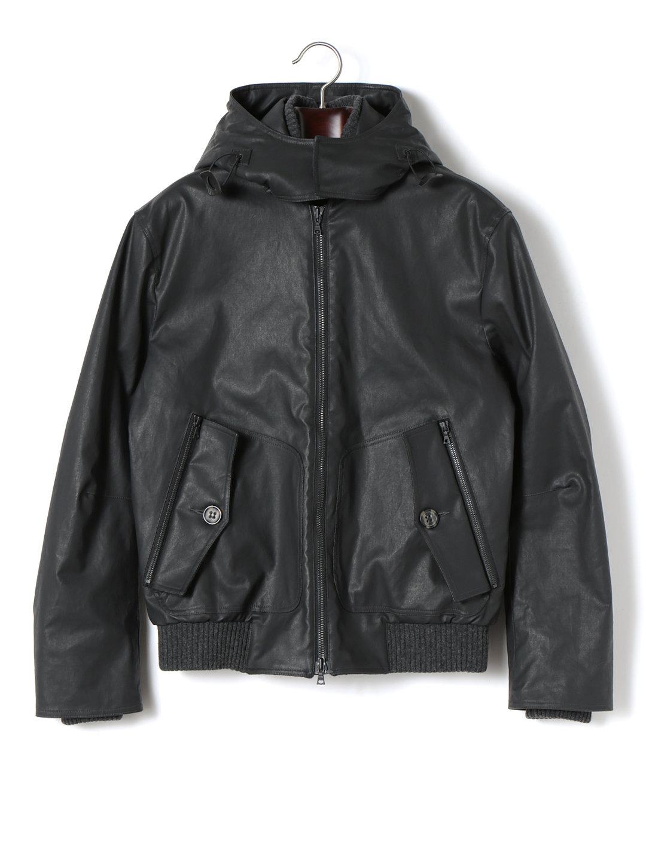【50%OFF】ニット切替 フーデッド 中綿入 ダブルジップ ジャケット ブラック 50 ファッション > メンズウエア~~ジャケット