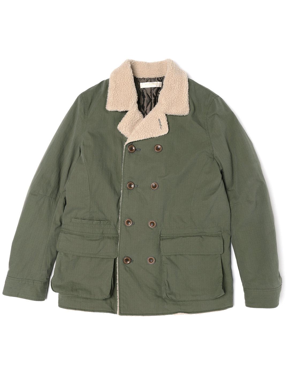 【65%OFF】裏ボア 中綿入 ダブルブレステッド コート カーキ 5 ファッション > メンズウエア~~ジャケット
