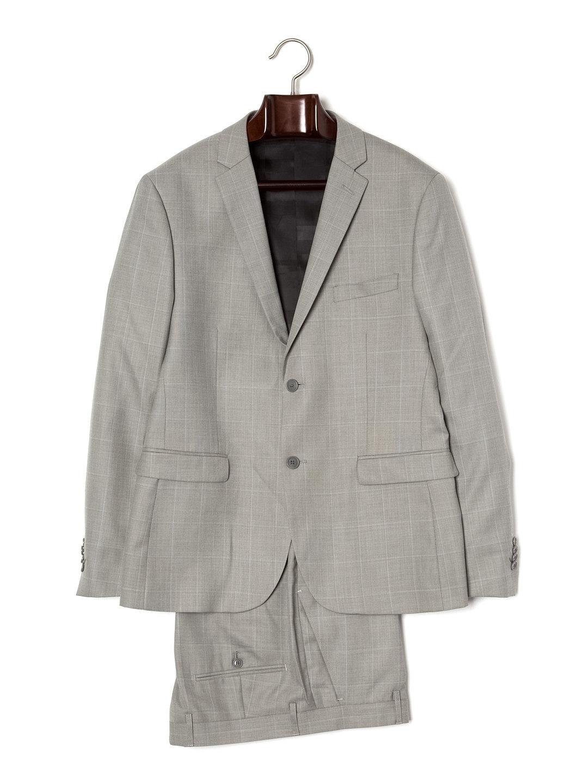 【80%OFF】チェック ノッチドラペル スーツ グレーxスカイウィンドウチェック 38 ファッション > メンズウエア~~スーツ