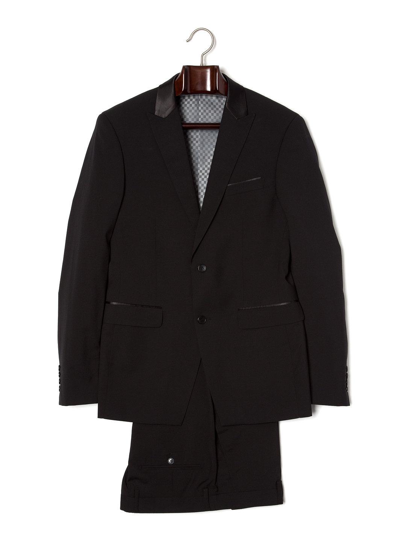 【80%OFF】カラー切替 ピークドラペル スーツ プレーンブラック 42 ファッション > メンズウエア~~スーツ
