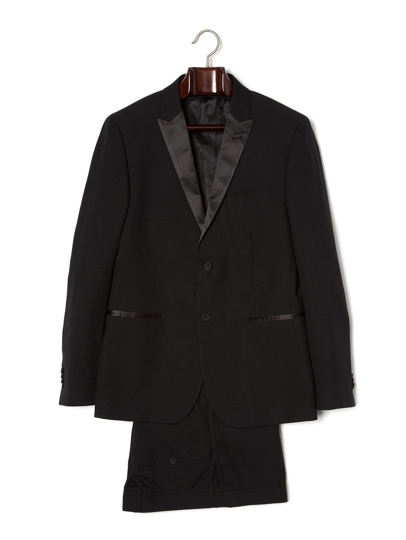 【80%OFF】ピークドラペル切替 スーツ ブラック 38 ファッション > メンズウエア~~スーツ