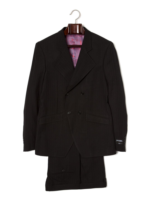 【80%OFF】ピンストライプ ダブルブレスト 幅広ノッチドラペル スーツ ブラックピンストライプ 38 ファッション > メンズウエア~~スーツ