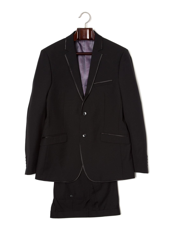 【80%OFF】パイピング ノッチドラペル スーツ プレーンブラック 38 ファッション > メンズウエア~~スーツ