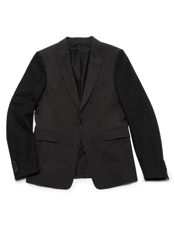 【70%OFF】袖切替 ピークドラペル テーラードジャケット チャコールグレー 44 ファッション > メンズウエア~~スーツ