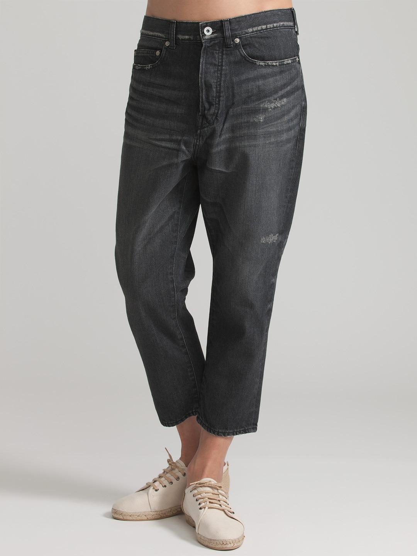 【73%OFF】Pack ダメージ加工 クロップド サルエルデニム ブラック 30 ファッション > メンズウエア~~パンツ
