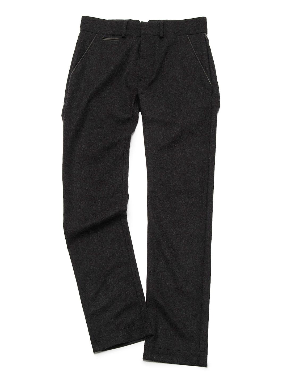 【80%OFF】カシミヤ混 シープレザー切替 シンチバック パンツ チャコールグレー 42 ファッション > メンズウエア~~パンツ