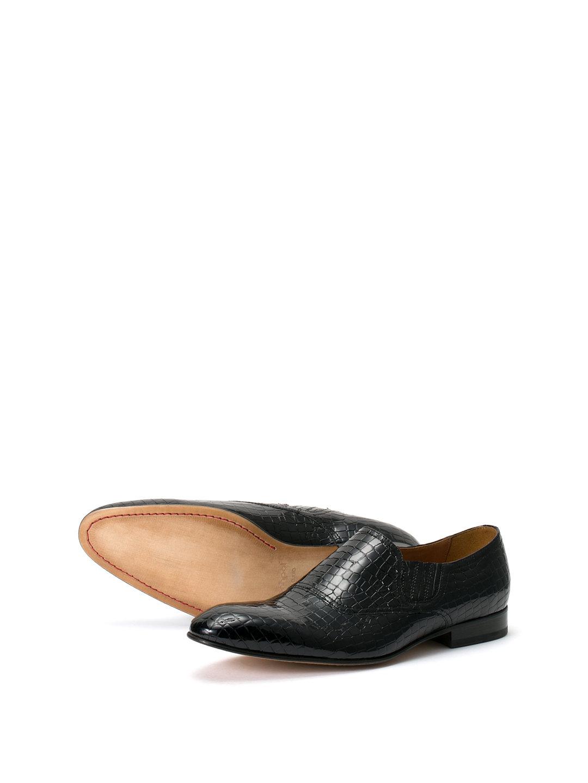 【64%OFF】PALERMO レザー型押し ローファーシューズ ネイビーブルー 45 ファッション > 靴~~メンズシューズ