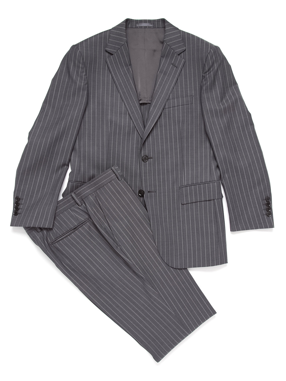 【71%OFF】オルタネートストライプ ノッチドラペル スーツ グレー ab5 ファッション > メンズウエア~~スーツ