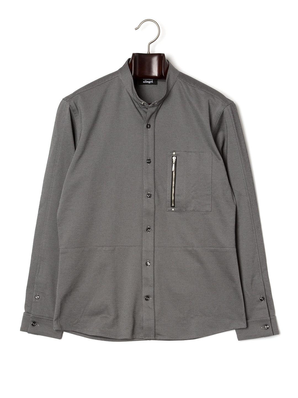 【73%OFF】スタンドカラー シャツジャケット グレー 48 ファッション > メンズウエア~~その他トップス