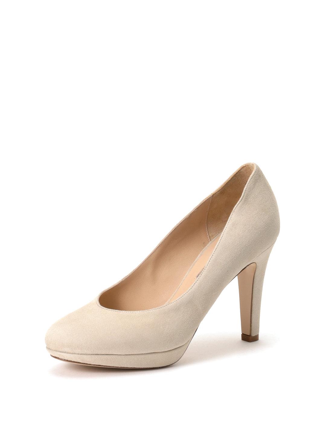 【72%OFF】レザー プラットフォーム パンプス ベージュスエード 36.5 ファッション > 靴~~レディースシューズ