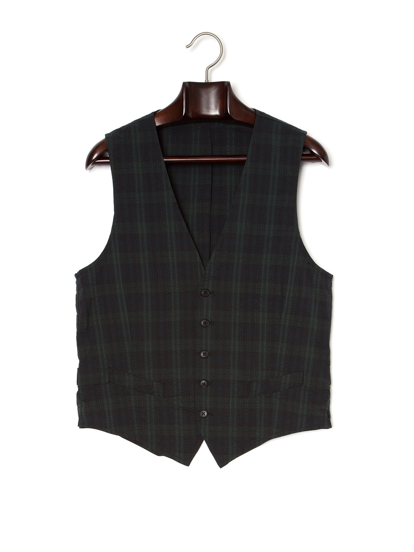 【50%OFF】M.OPEN YARD チェック柄 Vネック ベスト グリーン 50 ファッション > メンズウエア~~スーツ
