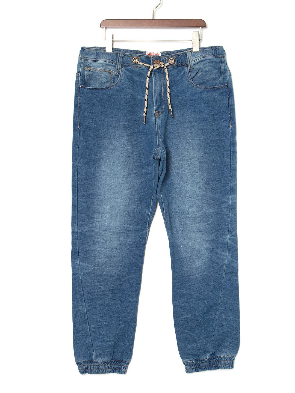 【50%OFF】ウォッシュ加工 デニム風 イージーパンツ ブルーネイビー 54 ファッション > メンズウエア~~パンツ