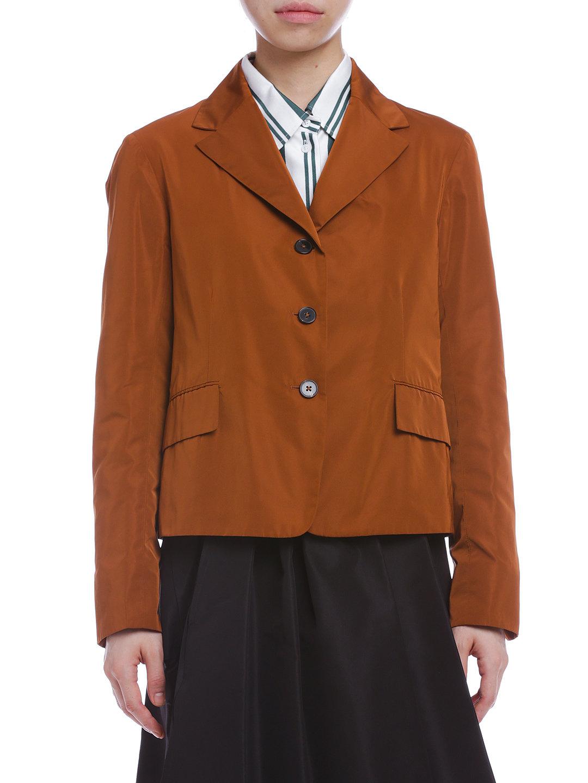 【76%OFF】シルク混 ショートジャケット キャメル 40 ファッション > レディースウエア~~ジャケット