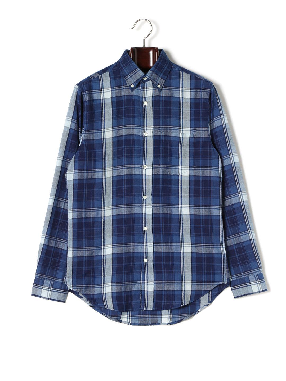 【80%OFF】オックスフォード チェック ボタンダウン 長袖シャツ ネイビー s ファッション > メンズウエア~~その他トップス