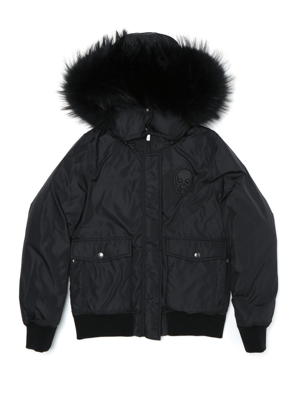 【50%OFF】ラクーンファー フード付 2way ダウンジャケット ブラック l ファッション > レディースウエア~~ジャケット