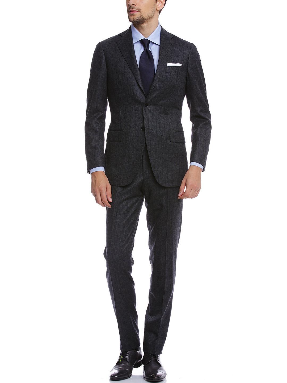 【50%OFF】ストライプ ノッチドラペル スーツ グレー 50 ファッション > メンズウエア~~スーツ