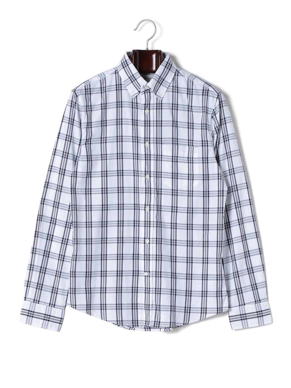 【80%OFF】チェック ボタンダウン 長袖シャツ ホワイト s ファッション > メンズウエア~~その他トップス
