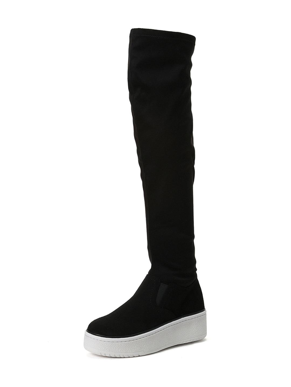 【50%OFF】厚底 ニーハイ スニーカーブーツ ブラック m ファッション > 靴~~レディースシューズ