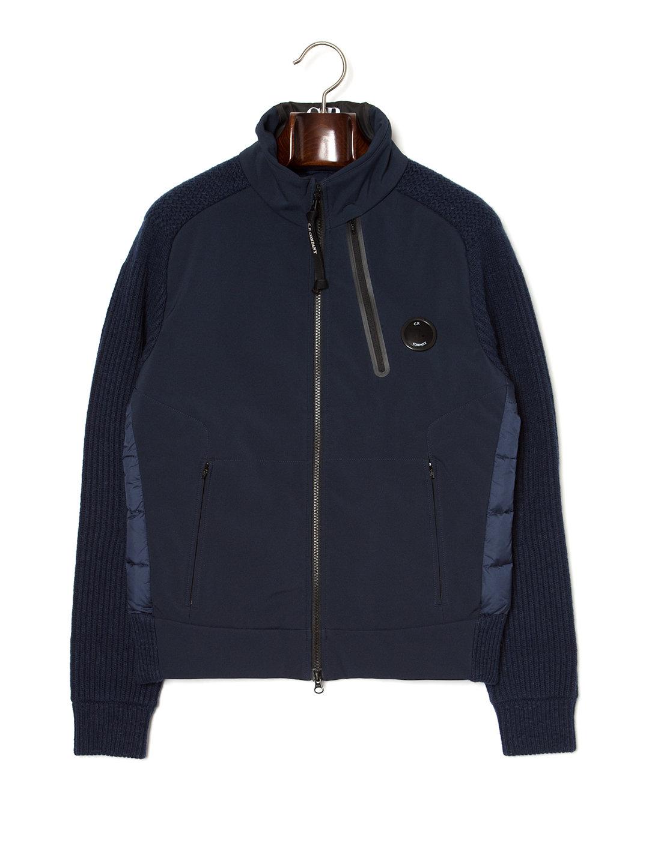 【60%OFF】スタンドカラー 切替 ダブルジップ ダウンブルゾン ネイビー 44 ファッション > メンズウエア~~ジャケット