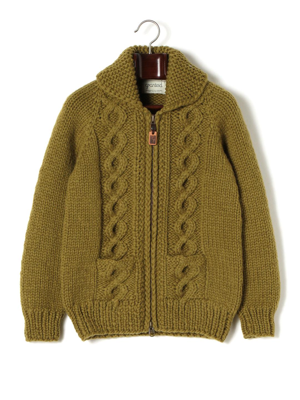 【60%OFF】GRANTED ケーブル編み ダブルジップ ニットジャケット オリーブ xs ファッション > メンズウエア~~ジャケット