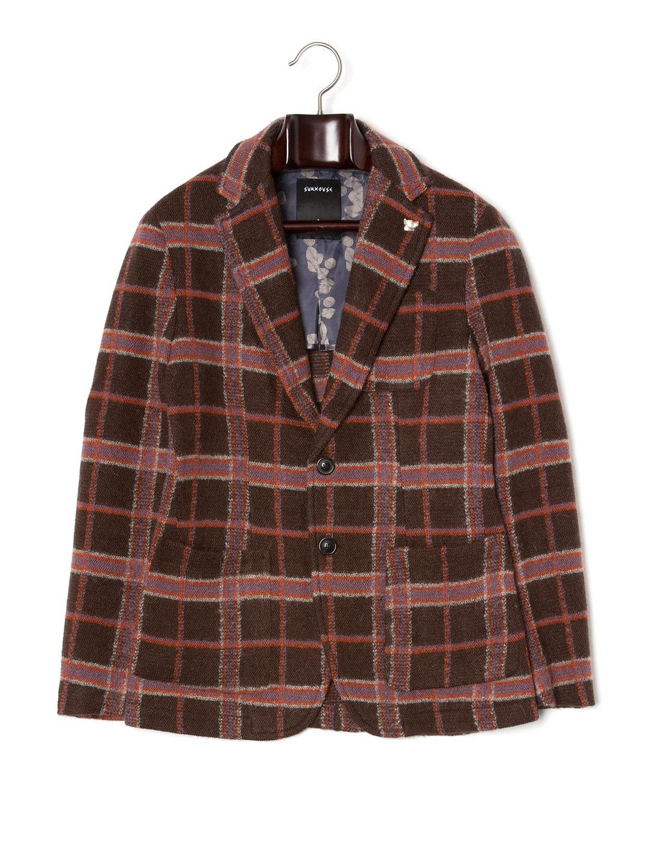 【80%OFF】ピンバッジ付 テーラードジャケット ブラウンチェック 46 ファッション > メンズウエア~~スーツ