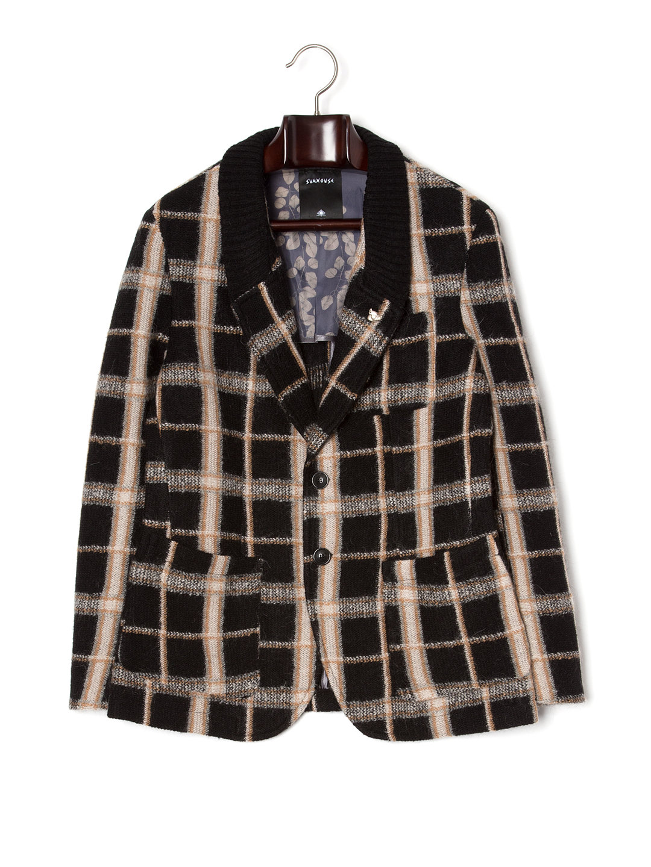 【80%OFF】ピンバッジ付 襟切替 テーラードジャケット チェック 46 ファッション > メンズウエア~~スーツ