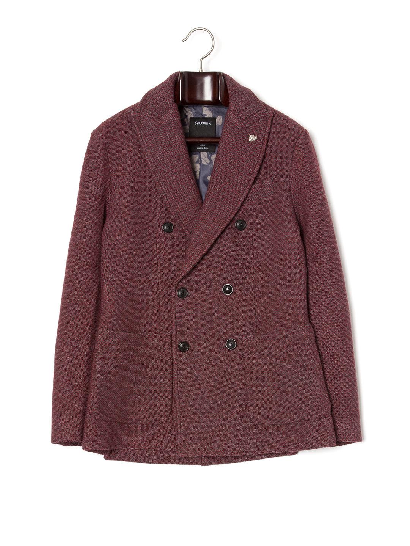 【84%OFF】ピンバッジ付 ピークドラペル ダブルブレステッド ピーコート レッド 44 ファッション > メンズウエア~~ジャケット