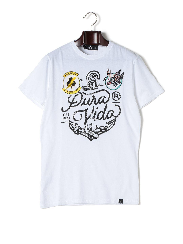 【67%OFF】BANDA ワッペン プリント クルーネック 半袖Tシャツ ホワイト xs ファッション > メンズウエア~~その他トップス