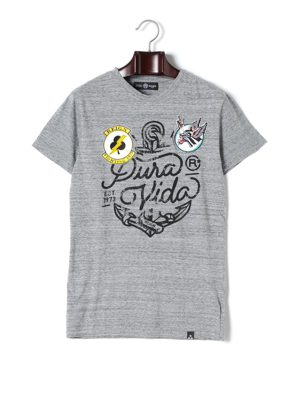 【67%OFF】BANDA ワッペン プリント クルーネック 半袖Tシャツ ライトグレー s ファッション > メンズウエア~~その他トップス