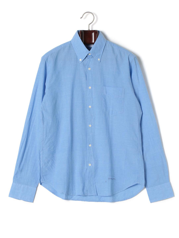 【80%OFF】ボタンダウン 長袖シャツ ブルー l ファッション > メンズウエア~~その他トップス