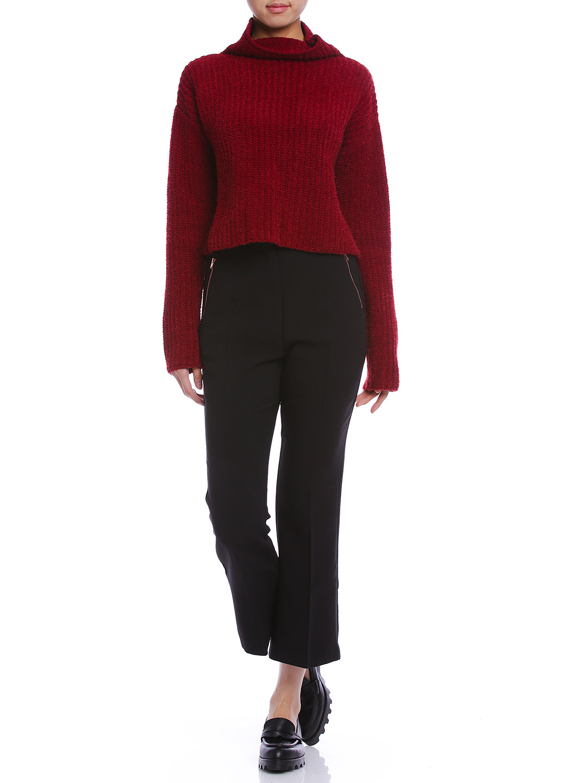 【40%OFF】ジップポケット ノータック クロップド フレアパンツ ブラック m ファッション > レディースウエア~~パンツ