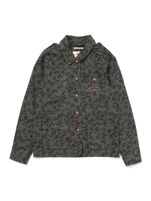 【57%OFF】レオパード柄 バック刺しゅう ミリタリーシャツジャケット カーキ 10 ベビー用品 > 衣服~~ベビー服