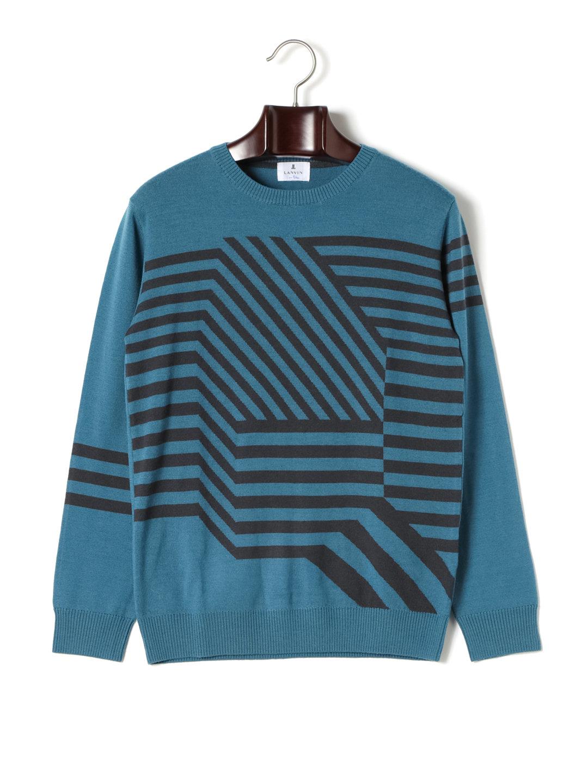 【50%OFF】幾何学柄 クルーネック 長袖ニット ブルー 50 ファッション > メンズウエア~~その他トップス